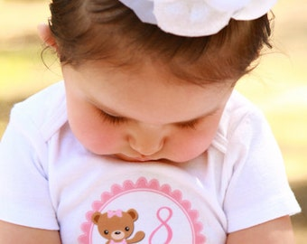 Monthly Stickers, Girls Photo Props, Monthly Baby Stickers, Monthly Baby Photos, Baby Gift, Milestone Stickers, Teddy Bear (G137)