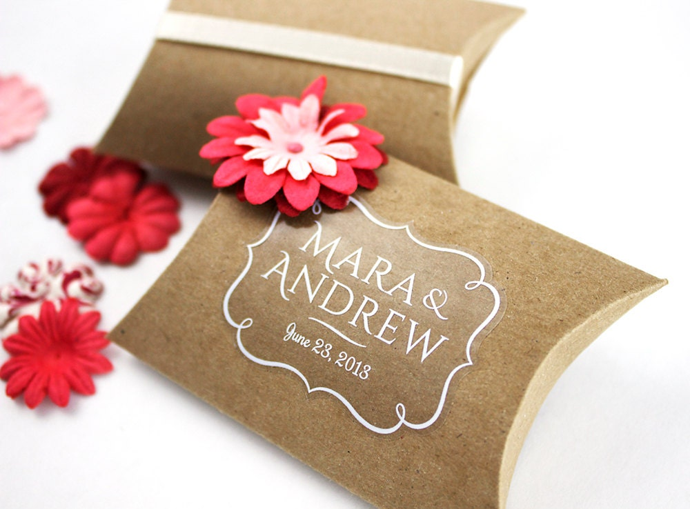 Wedding Gift Box Stickers : Clear Custom Stickers transparent or white labels opaque