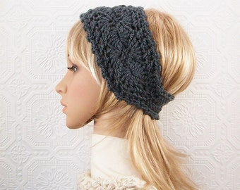 Crochet headband, headwrap, ear warmer - charcoal grey - crochet winter accessories handmade by Sandy Coastal Designs made to order