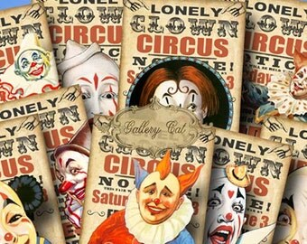 LONELY CLOWN Circus Digital Collage Sheet Instant Download for Party Tags Cards Scrapbooking Paper Crafts Vintage Carnival Gallery Cat CS217