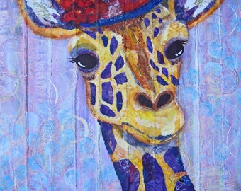 8 X 10 Print - Ginger Giraffe -  Mixed Media Collage Reproduction - Art - Sunday Best Series