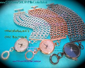Multi Strand Chain Link Pave Crystal Rhinestone Statement Watch Bracelet-  WATCH-LET #1