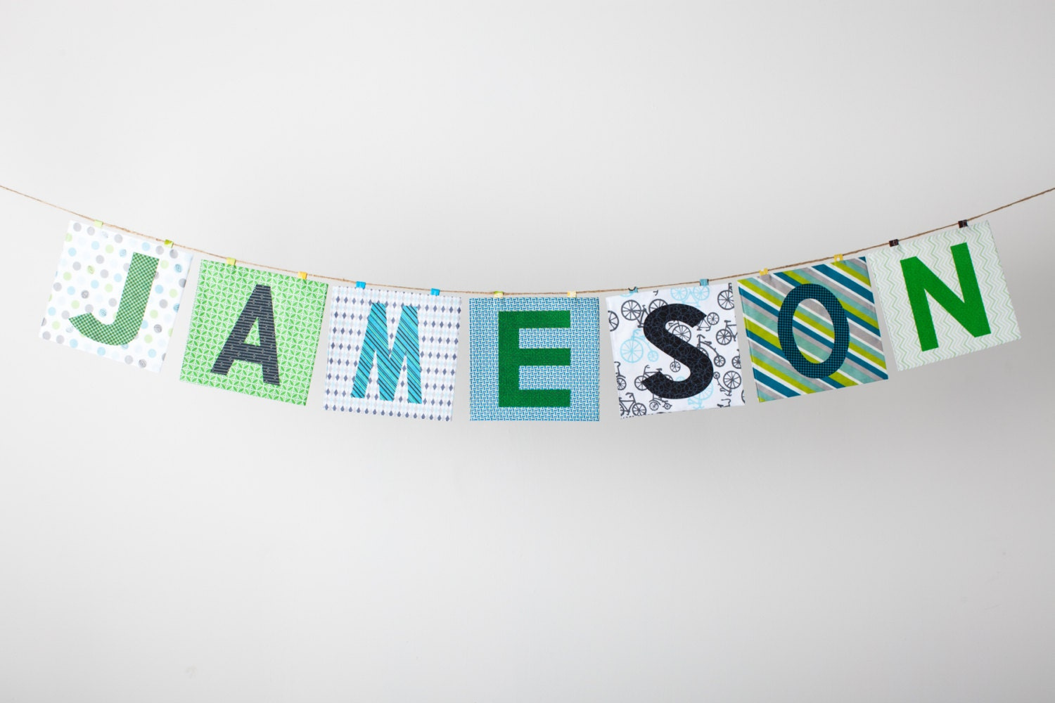 Custom Fabric Applique Name Banner in the JAMESON Collection