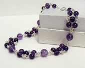 Amethyst Beaded Bracelet Linked with Sterling Silver