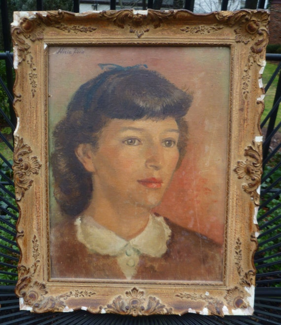 Woman Portrait Painting. Alicia Fiene. Listed Artist. Vintage 1940s/1950s. Mid Century. Framed.