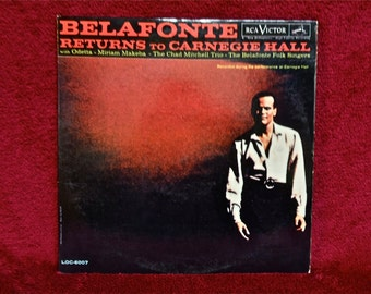 HARRY BELAFONTE - Returns to Carnegie Hall - 1960  Vintage Vinyl GATEfold 2 lp Record Album