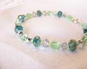 Pale Green and Teal Sparkle Bracelet, spring green bracelet, green and silver bracelet, teal bracelet, light green bracelet, large bracelet