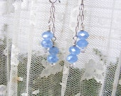 Pale Blue Chain Dangle Earrings, light blue chain dangle earrings, baby blue earrings, swarovski crystal earrings, sterling silver earrings