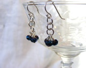 Metallic Blue Three Bead Dangles, blue cluster earrings, metallic blue earrings, small blue earrings