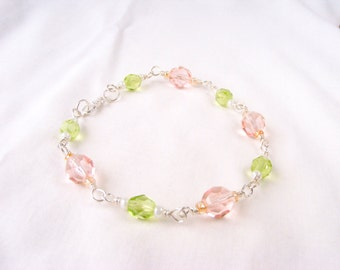 Sterling Silver Wire Wrapped Czech Glass, Pink and Green Wire Wrapped Bracelet