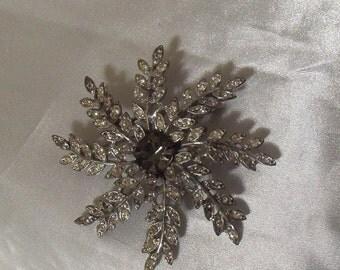 Vintage Rhinestone Flower Brooch, Stunning Rhinestone Silver Brooch, 1940s Vintage Bridal Jewelry