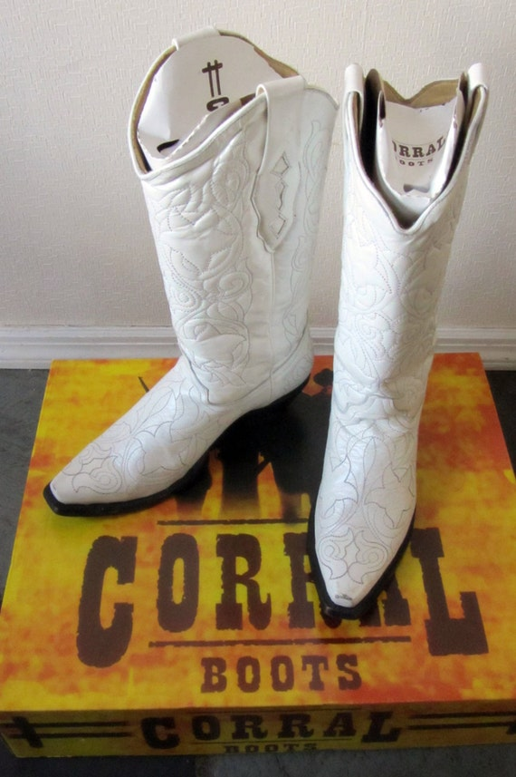 items similar to pearl white corral wedding boots cowboy
