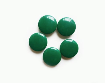 Green Vintage Buttons, 5 Emerald Buttons