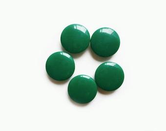 5 Emerald Green Shank Plastic Buttons, 18mm