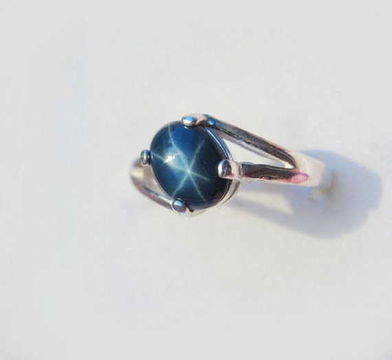 Natural Blue Star Sapphire In Sterling Silver Ring 1.71ct. Size 6.5