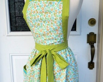 Upcycled Apron - Vintage Floral with Green and Blue