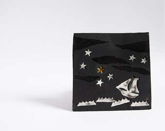 Follow Your Star. ceramic tile, wall hanging, black, nautical. Graduation, new job, retirement, encouragement gift.