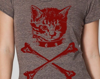 womens kitten crossbones- American Apparel athletic tri blend coffee- available in S, M, L , XL WorldWide Shipping