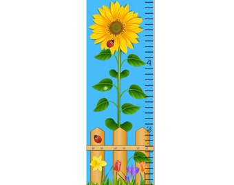 Growth Chart Children Sunflower Canvas Growth Chart Personalized OHSC