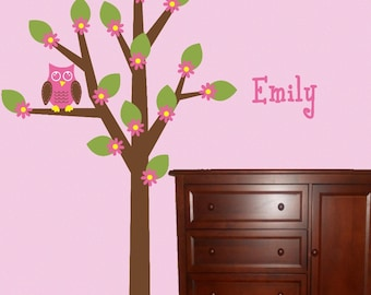 Owl Tree Wall Decal Kids Wall Decal Personalized Nursery Decor OHSC