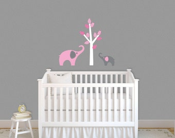 Mod Elephant Jungle Tree children wall decal Pink Grey Nursery Decor
