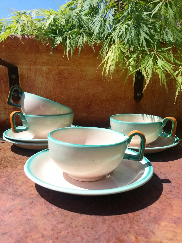 Schramberg Majolika Smf Tea Cup And Saucer Bauhaus Art Nouveau Eva Zeisel Era Haute Juice