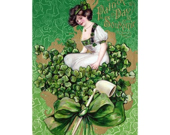 St. Patricks Day Card - Girl Sits on Shamrocks w Pipe - Irish Woman