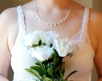 Green Glass Leaf Elvish Bridal Necklace Earring Set, Pixie Wedding Necklace, Bohemian Gypsy Wedding Jewelry, Boho Elven Fairy Wedding