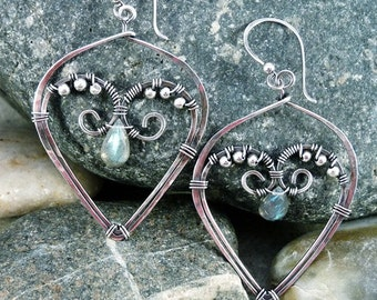 Sterling Silver and Labradorite Wire Wrapped Hoop Earrings.