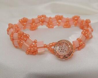 Orange Tila Wave Bracelet