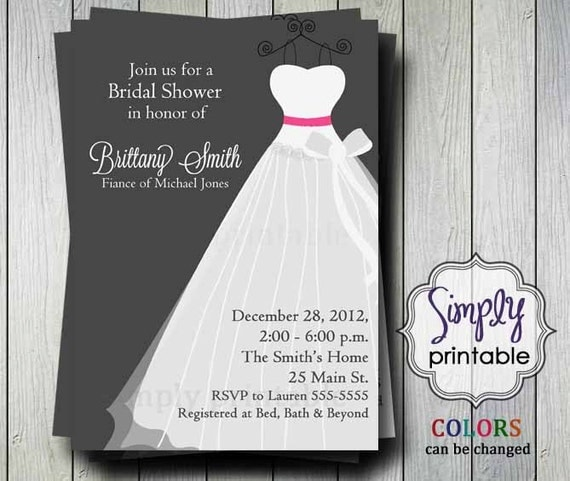 Wedding dress bridal shower invitation printable digital for Wedding dress bridal shower invitations