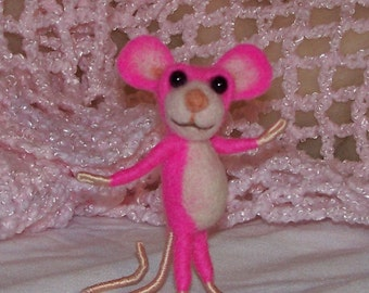 Needle Felted Bright Pink Mouse - FREE SHIPPING to US and Canada