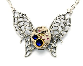 SEPTEMBER Steampunk Necklace, BUTTERFLY Steampunk Watch Necklace, Butterfly Necklace, Silver Blue Steampunk Jewelry By Victorian Curiosities