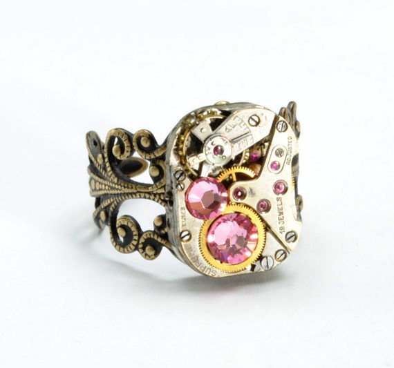LIGHT PINK Steampunk Ring OCTOBER Birthstone Steampunk Jewelry Steampunk Watch Ring Antique Brass Vintage Style Jewelry VictorianCuriosities