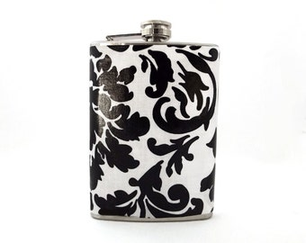 Black and White Floral Flask, Bridesmaid Bridal Party Gift, Flasks for Women, 6 oz Stainless Steel Hip Flask