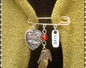 Kilt Pin -Brooch -Gold Pin & 3 Charms (Heart- LIve- Angel) and Red Crystal