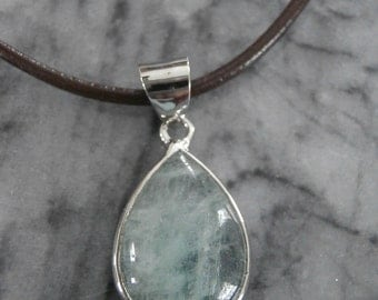 Sterling Green Clear Crystal Tear Drop Necklace