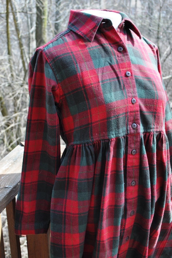 Vintage Dress Womens Flannel Small Petite Long Sleeves Red And