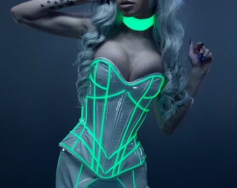 Glow in the Dark Collar CLEARANCE XS/S Glowing Artifice - white in regular light,glows glowstick green in dark