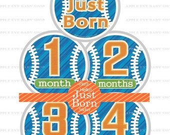 Baby Monthly Stickers FREE Baby Month Milestone Sticker Baby Month Stickers Baby Boy Bodysuit Sticker Photo Props Blue Orange Gift Baseball