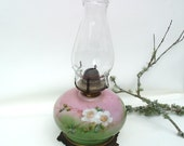 Hurricane Lamp Antique Oil Lamps Gone with the Wind Victorian Lighting  Pink  Green  White Roses