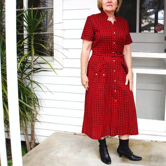 50s Day Dress 1950s Rockabilly Costume Red Black Checkered Dress S Small - M Medium