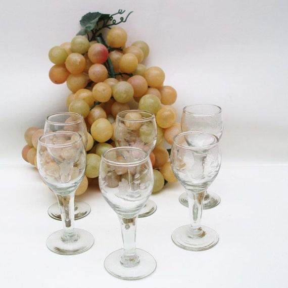Vintage Sherry Glasses Stemware Etched Cordial Glasses Vintage Barware