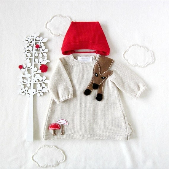 Knitted baby dress and cap. Little Red Riding Hood. 100% wool. MADE TO ORDER.