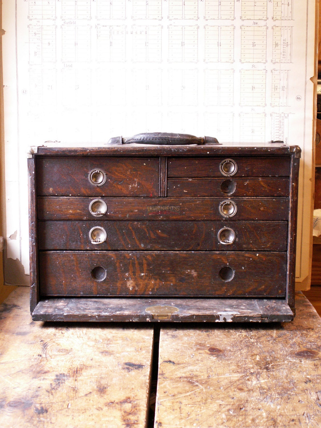 Vintage Union Tool Chest Wood Machinist S Chest With Six