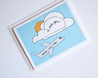 I Miss You Card - Thinking of You Card - Long Distance Relationship Card - I Love You Card