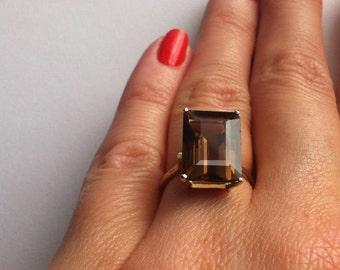 Gold Ring 14k And Smoky Quartz
