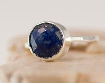 Lapis Lazuli Ring Silver - September Birthstone Ring - Solitaire Ring - Stacking Ring - Sterling Silver Ring - Round Ring