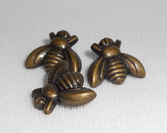 Honey Bee Buttons - Set of 3 - Metal Shank Button, Antique Brass Finish - Insect, Springtime, Summertime Bee Buttons