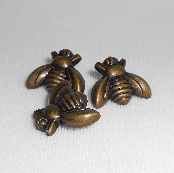 Honey Bee Buttons Set Of 3 Metal Shank Button Antique